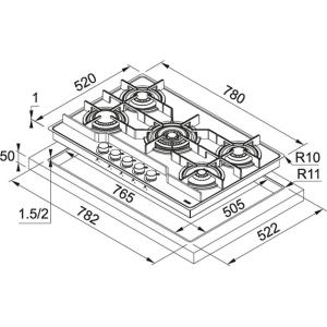 Piano cottura Frames - FHFS 785 4G TC CH C